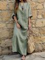 V neck  Sheath Women Cotton Stripe Half Sleeve Paneled Plain Summer Dress
