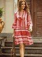V neck Green  Women Daily Long Sleeve Basic Cotton Paneled Plain Spring Dress