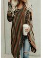 Asymmetrical Long Sleeve Stripes Casual Sweater