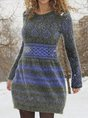 Knitted Round Neck Casual A-Line Sweaters
