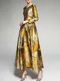 A-Line Cocktail Elegant Floral Maxi Dress