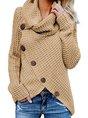 Casual Turtleneck Asymmetrical Buttoned Plain Long Sleeve Sweater