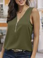 Sleeveless Casual Solid Shift Top