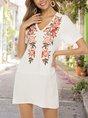 V Neck Shift Holiday Embroidery Mini Dress