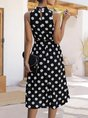 Sleeveless Daily Sweet Polka Dots Midi Dress