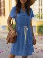 V Neck Daily Drawstring Mini Dress
