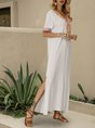 V Neck White Swing Slit Maxi Dress