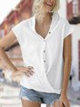 Solid V Neck Short Sleeve Simple Blouse