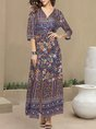 V Neck Shift Holiday Printed Floral Maxi Dress