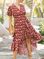 V Neck Red High Low Holiday Floral Maxi Dress