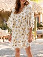 V Neck Shift Beach Holiday Mini  Dress