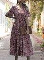 V Neck  A-Line Holiday Printed Floral Maxi Dress