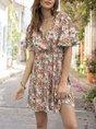 V Neck A-Line Holiday  Printed Mini Dress