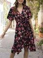 V Neck  A-Line Holiday Floral Mini Dress