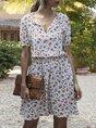 Summer V Neck  Shift Floral Mini Dress