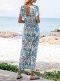V Neck White Swing Boho Floral Maxi Dress