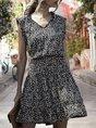 V Neck  Shift Holiday Floral Mini Dress