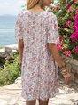 V Neck Pink Shift Holiday Mini Dress