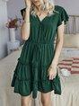 V Neck  Tiered Solid Mini Dress