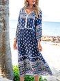 V Neck Blue Swing Holiday Tribal Maxi Dress