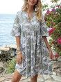 V Neck Light Gray A-Line Mini Dress