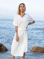 White Shift Daily Paneled Midi Dress