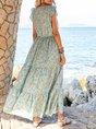 Blue Geometric Casual V Neck Printed Maxi Dress