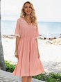 Pink Casual Solid A-Line V Neck Dresses