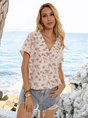 Floral Shawl Collar Boho Cotton-Blend Shirts & Tops