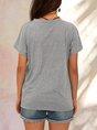Gray Printed Cotton Short Sleeve V Neck Top