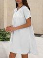 V Neck Solid Casual Mini Dress