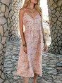 V Neck Flower Swing Beach Maxi Dress