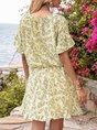 Apricot Geometric Short Sleeve Floral-Print V Neck Mini Dress