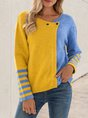 Blue Casual Shift Color-block Sweater