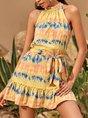 Ombre/tie-Dye Halter Printed Mini Dress