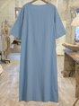 Crew Neck 3/4 Sleeve  Casual Midi Dress