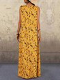 Sleeveless Floral Printed Casual Maxi Dress