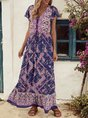V Neck Purple A-Line Boho Floral-Print Maxi Dress