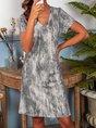 V Neck Holiday Boho Mini Dress