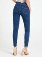 Deep Blue Buttoned High-rise Denim Sheath Pants