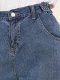 Blue Casual Pockets Straight Leg Pants