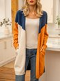 Blue Shift Color-Block Long Sleeve Sweater Cardigans