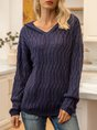 Deep Blue Hoodie Plain Casual Sweater