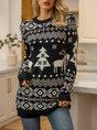 Black Long Sleeve Casual Shift Sweater