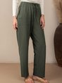 Army Green Solid Casual Pockets Pants
