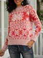 Red Long Sleeve Christmas Snowman Sweater