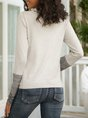 Gray Turtleneck Casual  Paneled Sweater